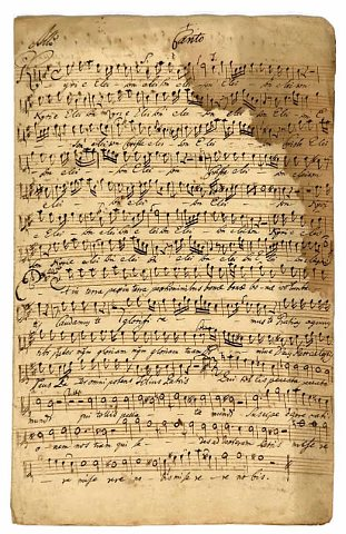 Ukázka not z piaristického kůru ve Slaném