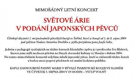 Pozvánka na koncert japonských pěvců (repro Ivo Horňák)