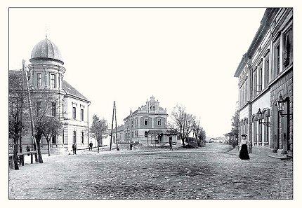 Nároží Wilsonovy a Tyršovy ulice (V. F.Dvořák, po roce 1904)