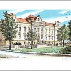 Slaný, Hospodyňská škola – Jiří Bouda, 1997, litografie (14 x 25)