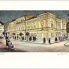 Slaný, Divadlo – Jiří Bouda, 2002, litografie (13 x 24 cm)