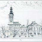 Slaný, Náměstí – Miroslav Hásek, 1995, litografie (23 x 42 cm)