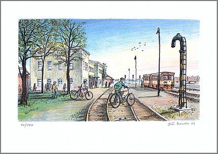 Slaný, Nádraží – Jiří Bouda, 2009, litografie (14 x 25 cm)