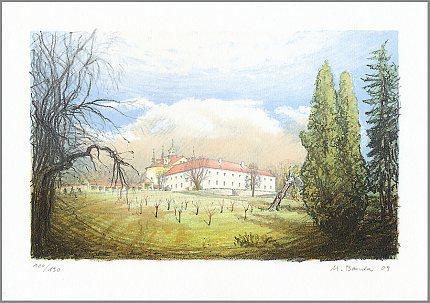 Slaný, Klášter – Martin Bouda, 2009, litografie (16 x 26 cm)