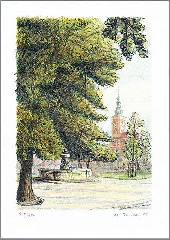 Slaný, Náměstí – Martin Bouda, 2009, litografie (17 x 24 cm)