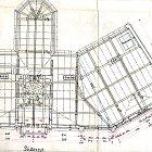 Půdorys střechy Okresního domu na původních plánech