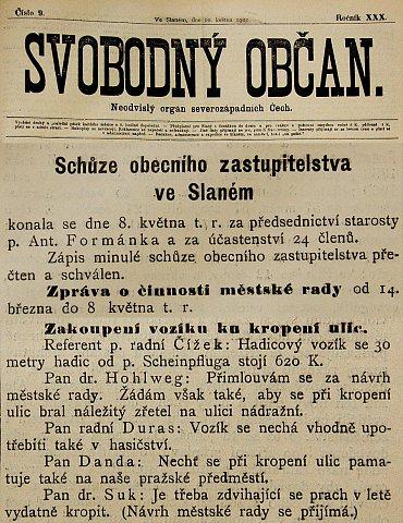 Ze schůze Obecního zastupitelstva – květen 1901