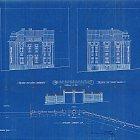 Fasáda a ohradní zeď k domu čp. 781 na originálním plánu (1914)