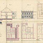Celkový plán domu čp. 585 ve Wilsonově ulici z roku 1883