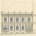 Původní zdobná fasáda domu čp. 585 jak ji navrhl Fr. Štech