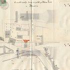 Nákres stavební situace v okolí domu čp. 518 z roku 1881