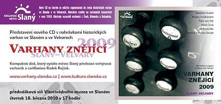 Varhany znějící 2009, Slaný–Velvary, představení CD – pozvánka