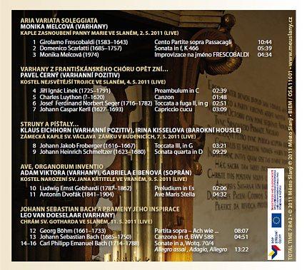 CD Varhany znějící 2011 – zadní strana