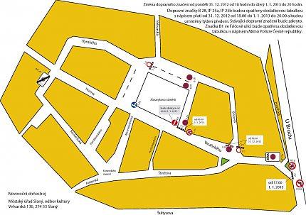 Změna dopravní situace 31. 12. 2012 a 1. 1. 2013