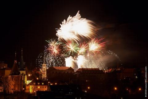 Ohňostroj 1. ledna 2013 ve Slaném