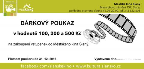 Dárkové poukazy do Městského kina ve Slaném