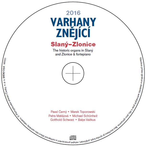 Disk CD Varhany znějící 2016 Slaný–Zlonice