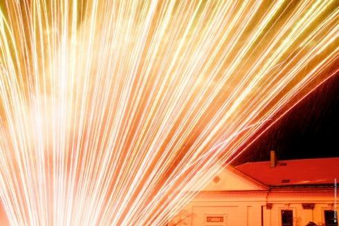 Každoroční ohňostroj 1. ledna na náměstí TGM ve Slaném